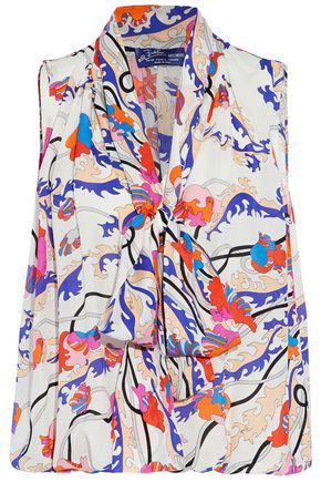 EMILIO PUCCI Pussy-bow printed silk crepe de chine blouse
