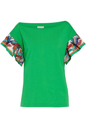 EMILIO PUCCI Printed silk satin-trimmed cotton-jersey T-shirt