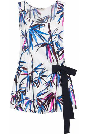 EMILIO PUCCI Gathered printed silk-twill top