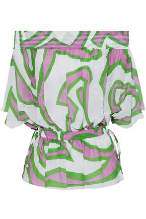 EMILIO PUCCI Off-the-shoulder printed cotton and silk-blend top