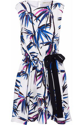 EMILIO PUCCI Bow-detailed printed silk-twill mini dress