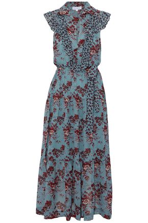 ROBERT RODRIGUEZ Belted ruffled floral-print silk maxi dress