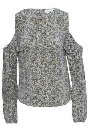 ROBERT RODRIGUEZ Cold-shoulder ruffled printed silk blouse