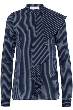 ROBERT RODRIGUEZ Ruffled striped cotton and silk-blend shirt