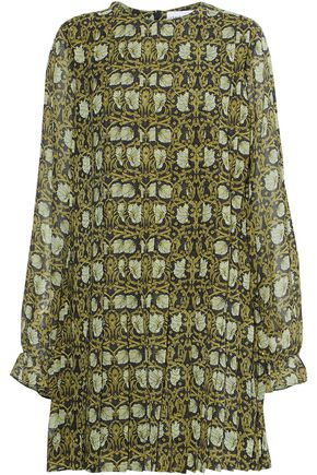 ROBERT RODRIGUEZ Pleated floral-print silk-chiffon mini dress