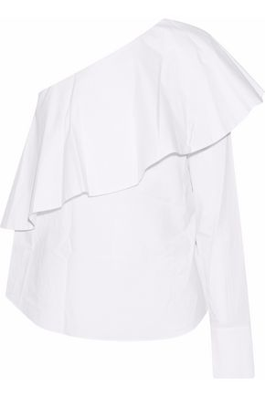 ROBERT RODRIGUEZ One-shoulder ruffled cotton-poplin top