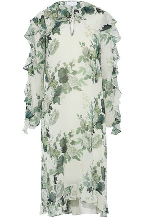 ROBERT RODRIGUEZ Ruffled floral-print silk-chiffon midi dress