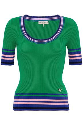 EMILIO PUCCI Color-block cotton ribbed-knit top