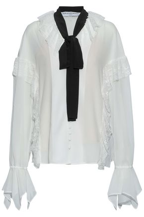 PERSEVERANCE Pussy-bow ruffled lace-trimmed chiffon blouse