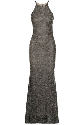 BADGLEY MISCHKA Beaded knitted gown
