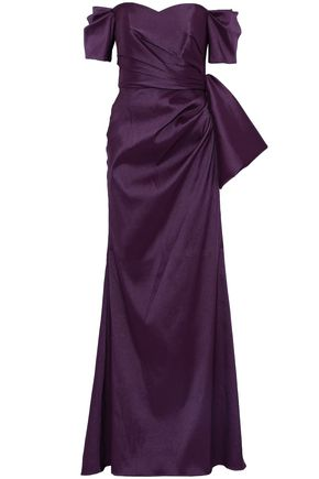 BADGLEY MISCHKA Off-the-shoulder bow-embellished duchesse-satin gown