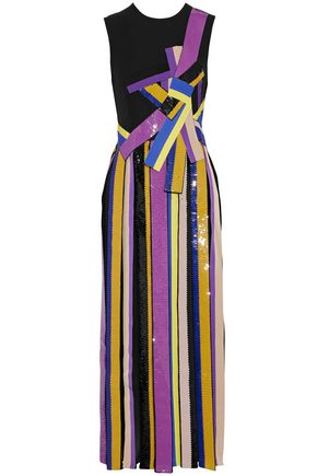 EMILIO PUCCI Embellished pleated silk-crepe midi dress