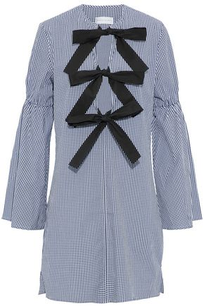 REBECCA VALLANCE Bow-detailed gingham-print cotton-blend poplin mini dress