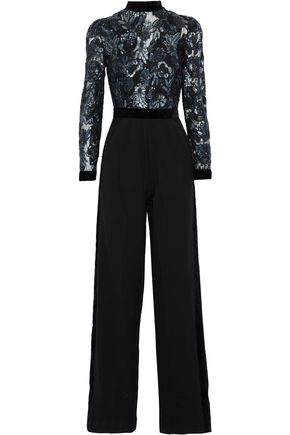 PERSEVERANCE Velvet-trimmed sequined tulle and crepe jumpsuit