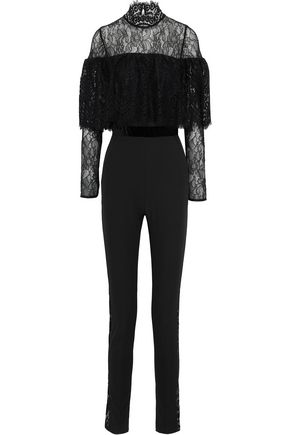PERSEVERANCE Layered velvet-trimmed lace and crepe jumpsuit
