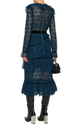 PERSEVERANCE Velvet-trimmed ruffled corded and guipure lace midi dress