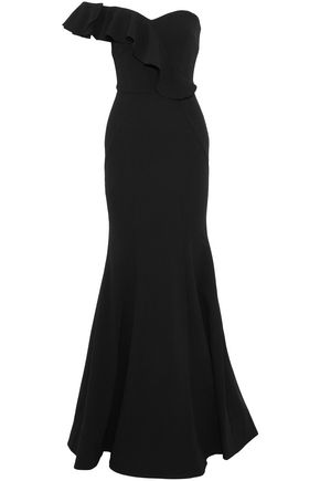 REBECCA VALLANCE One-shoulder bow-embellished ruffled crepe gown