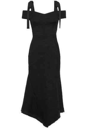 REBECCA VALLANCE Cold-shoulder grosgrain-trimmed stretch-knit midi dress