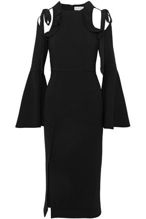 REBECCA VALLANCE Cold-shoulder cutout grosgrain-trimmed crepe dress
