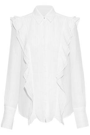 REBECCA VALLANCE Metallic ruffle-trimmed woven blouse