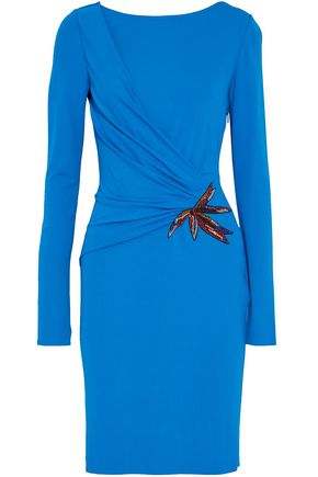 EMILIO PUCCI Wrap-effect embellished stretch-crepe dress