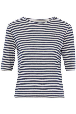 VINCE. Striped silk-blend jersey T-shirt