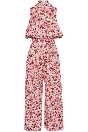 LELA ROSE Cropped layered floral-print cotton-blend jumpsuit