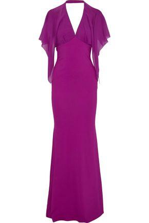 ROBERTO CAVALLI Open-back chiffon-paneled cady gown