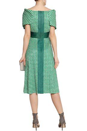 LELA ROSE Off-the-shoulder plissé gingham dress