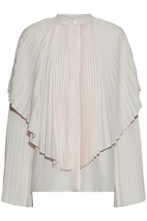 STELLA McCARTNEY Layered pleated silk crepe de chine blouse