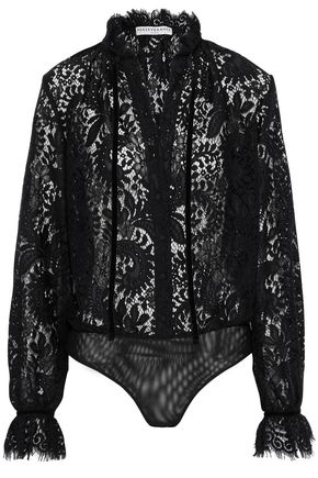 PERSEVERANCE Velvet-trimmed guipure lace and stretch-knit bodysuit