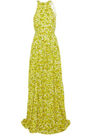 LELA ROSE Pleated floral-print crepe gown