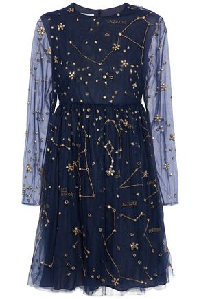 VALENTINO Embellished metallic embroidered tulle mini dress