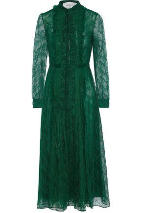 VALENTINO Pussy-bow pintucked Chantilly lace midi dress