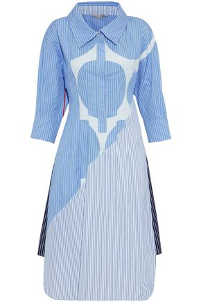STELLA McCARTNEY Paneled appliquéd striped cotton-poplin shirt dress