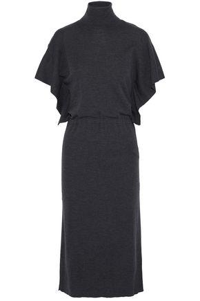 VALENTINO Draped wool turtleneck midi dress