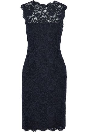 VALENTINO Bow-detailed cotton-blend corded lace dress