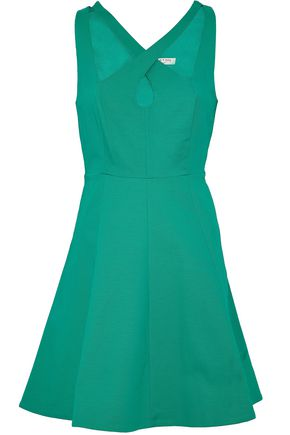 HALSTON HERITAGE Fluted cutout stretch-cotton mini dress