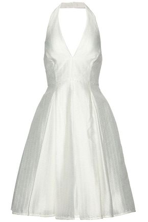 HALSTON HERITAGE Pleated satin-organza halterneck dress