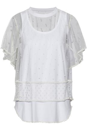 CHLOÉ Layered Swiss-dot tulle and cotton-jersey top