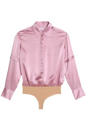 ALIX Mercer silk-satin and stretch-jersey bodysuit