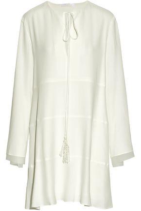 CHLOÉ Tasseled crepe de chine mini dress