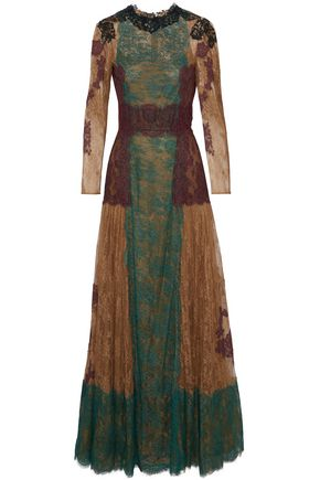 VALENTINO Paneled stretch-silk lace gown