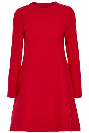 VALENTINO Beaded tulle-trimmed wool and silk-blend crepe mini dress
