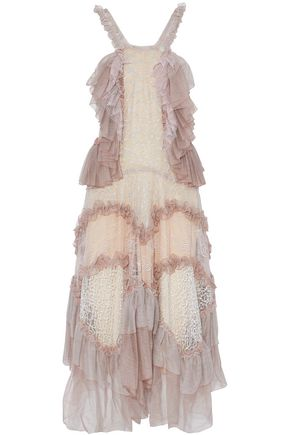 CHLOÉ Ruffled tulle-paneled lace dress