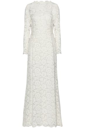 VALENTINO Open-back cotton-blend corded lace gown