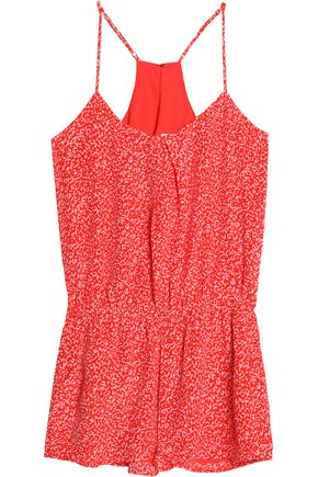 JOIE Printed silk crepe de chine playsuit