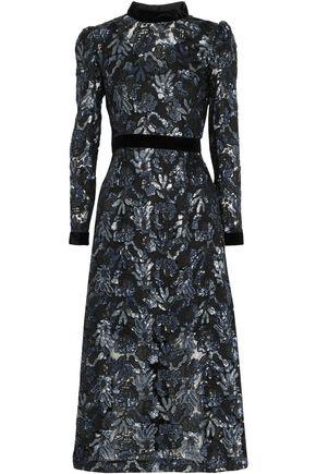 PERSEVERANCE Belted velvet-trimmed embellished tulle midi dress