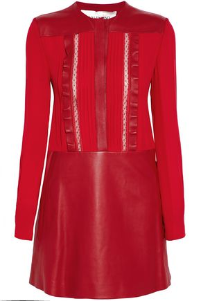 VALENTINO Lace-trimmed pintucked silk and leather mini dress