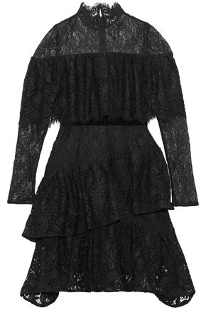 PERSEVERANCE Velvet-trimmed layered lace dress